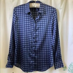 Banana Republic Blue Gingham Blouse. Size XS